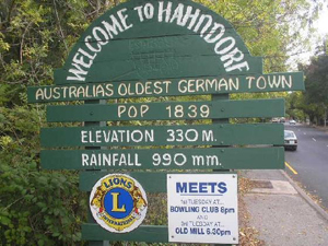 Welcome to Hahndorf - Australia's Oldest German Town with a population of 1839, the elevation is 330 metres and Rainfall 990mm.