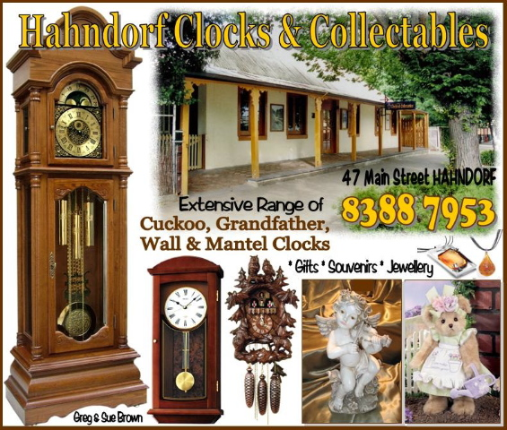 Hahndorf Clocks and Collectables is a collectors clock haven. Hahndorf Clocks and Collectables stock an extensive range of Cuckoo Clocks, Grandfather wall, mantle Clocks, novelty clocks, artistic clocks and weather houses. The store also offers an on site premium Clock repair service. Alongside clocks, inside the store German and Australian souvenirs, beer steins, jewellery, gift lines, settler bears and even fudge made on the premises can be found.